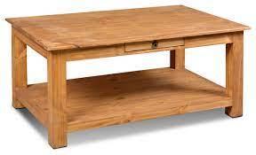 rustic solid pine wood 1 drawer coffee
