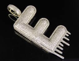 diamond letter e drip initial custom pendant charm men s 10k yellow gold 2 ct 2