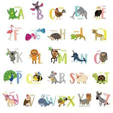 cartoon colorful 26 letters alphabet