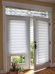 attractive blinds for french doors intended roman shade on door with stained glass