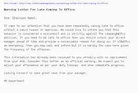 How To Write A Warning Letter To An Employee Warning Letter For Late Coming To Office