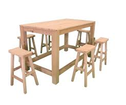 wooden outdoor bar table w  shanghaicurved top stools
