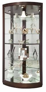 680603 howard miller espresso finish curved glass doors corner curio