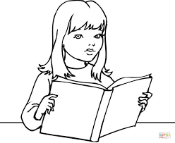 Small Picture A Girl Reading a Book coloring page Free Printable Coloring Pages