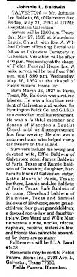 Obituary for Johnnie Lee Baldwin, 1927-1993 (Aged 66) - Newspapers.com