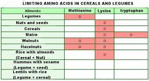 Foods Low In Methionine Chart Amino Acids That Are Missing In Cereals Legumes And Other