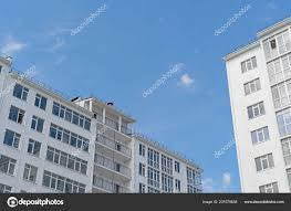 Modern New Executive Apartment Building Background Blue Sky Stock