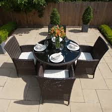 patio furniture sets for sale. Greenfingers Moncafa 4 Seater Dining Set - Black/Brown 105cm Table Patio Furniture Sets For Sale M