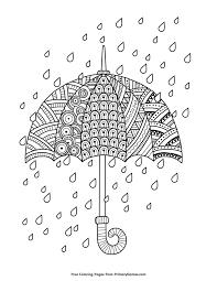 Spring Coloring Pages Ebook Rain Drops With Umbrella