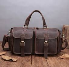 Vintage Thicken <b>Natural Cow Leather Men'S</b> Travel Bags Small ...