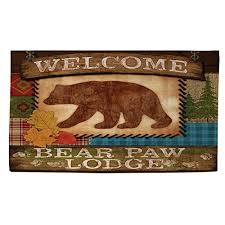 2x3 beige brown bear paw lodge printed runner rug indoor animal pattern living room rectangle carpet