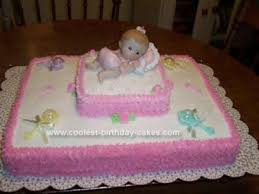Sweet Homemade Pink Baby Shower Cake Design