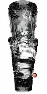 River Sleeve Tattoo Design лес и горыthe Forest And The