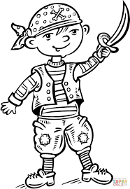 Printable Coloring Pages pirate coloring pages free : Child Dressed up like a Pirate coloring page | Free Printable ...