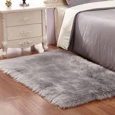 silver light gray animal design 5x7 area rug carpet rectangle faux fur