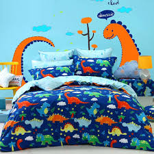 navy and yellow bedding blue orange green dinosaur print jungle animal cartoon themed cotton twin full