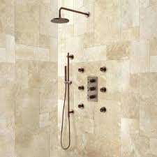 oil rubbed bronze round shower head system with 6 jets 2 heads bathroom chrome