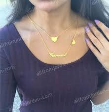 double necklace with two hearts and custom made pendant of your name free worldwide