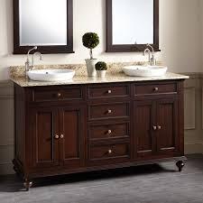 Dark Bathroom Vanity 60 Keller Mahogany Double Vanity For Semi Recessed Sinks Dark