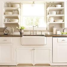 white country cottage kitchen. Modren White Gorgeous Cottage Kitchen Design With Creamy White Cabinets  Farmhouse Sink Polished Nickel Bridge Faucet Open Shelves  On White Country Cottage Kitchen