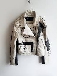 10 dada hand painted white rannka uni vegan leather jacket