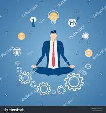 meditation businessman office. businessman meditating in peace at the office with icons time management stress relief and meditation o