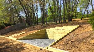 timber retaining wall and steps