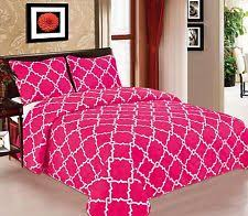 3 Piece Quilted Bedspread Hot Pink Gold Quilt Shams Floral Full ... & Galaxy Bedspread 3-Piece Quilt Set Soft Quilted Bedding White & Hot Pink NEW Adamdwight.com