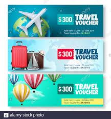 Travel voucher template vector set ...