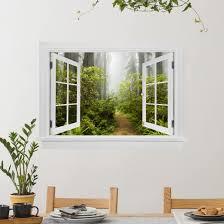 3d Wandtattoo Offenes Fenster Nebliger Waldpfad