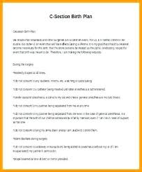 Birth Plan For C Section Template C Section Birth Plan Template Best Birth Plan Template
