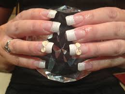 Full set of acrylic nails with white glitter dust on tips ,3D nail ...