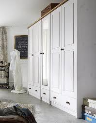 Kleiderschrank 5türig 248x210x60cm Kiefer 2farbig Weiß Eichefarben