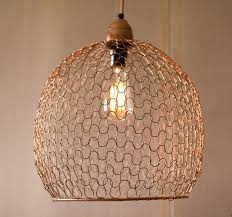 large woven wire pendant light copper