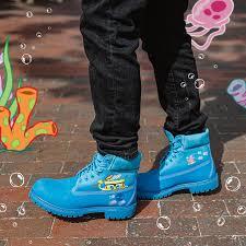 Light Blue Timbs Spongebob X Timberland Boots Apparel Releasing This Week