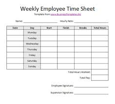 Timesheets Xls Free Sample Weekly Employee Time Sheet Template