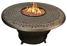 charleston round cast top gas fire pit table