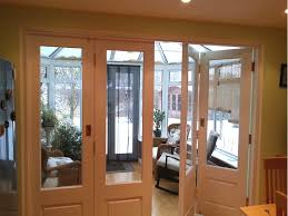 timber bi folding door partially open