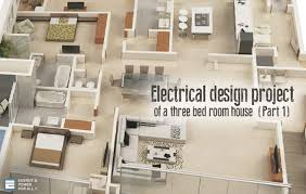 electrical design project of a three bed room house (part 1) how to draw electrical layout plans at House Plan Wiring Diagram