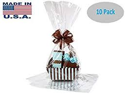 10 pack flat large 18 in x 30 in clear cellophane bags gift basket bags cello
