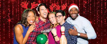friends wearing festive holiday gear