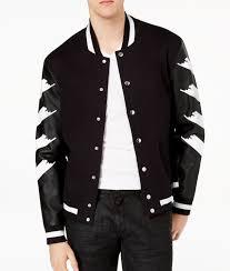 inc coats jackets inc mens large faux leather sleeve varsity jacket com