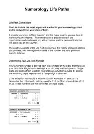 Life Path Numbers English Esl Worksheets