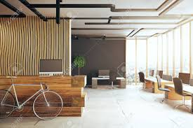 creative office ceiling. Creative Office Interior With Bicycle, Reception Desk, Several Desks Computer Monitors And Panoramic Ceiling
