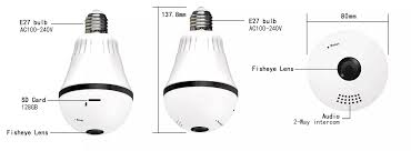 13mp Bulb Light Wireless Ip Camera Panoramic Wi Fi Lamp Fisheye