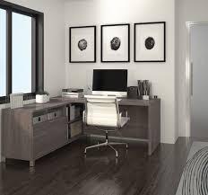modern premium l shaped desk in bark gray finish