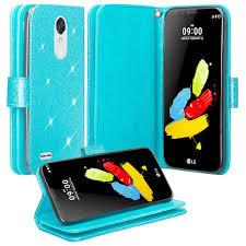 LG K20 Plus Case, V, K10 2017 Glitter Wallet Case - Teal V Harmony 2017, [Wrist