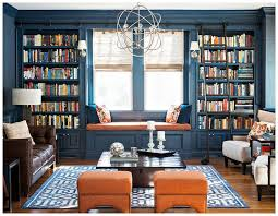 Blue Built In Bookcases