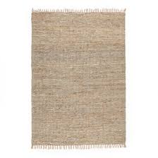 aidas jute and leather hand woven rug natural grey la redoute interieurs la redoute
