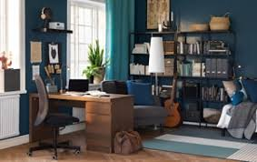 Modern office design concept featuring home office Office Space Wooden Desk With Drawers In An Officestudy With Blue Walls Ikea Workspace Inspiration Ikea